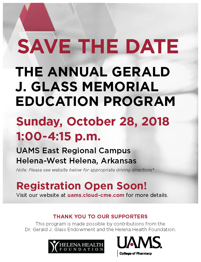 2018 Annual Gerald J. Glass Memorial Lecture Banner